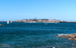 View of Saint-Malo from the Dinard. Summer day in the sun Royalty Free Stock Photography