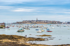 View at Saint Malo from Dinard. DINARD, FRANCE - AUGUST 24,2014 - View at Saint Malo from Dinard. Its beaches and mild climate make it a popular holiday Royalty Free Stock Photos