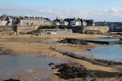 View of Saint Malo`s embankment from the Grand-Be at low tide stock photography