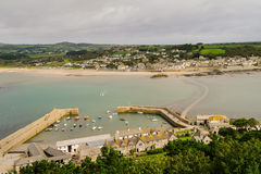 View from Saint Michaels Mount. View towards Marazion from Saint Michaels Mount, Cornwall Stock Photos