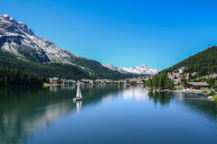 View of Saint Moritz lake with small boat Royalty Free Stock Image