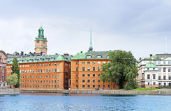 View of Saint Nicholas (Storkyrkan) Bell Tower, Stockholm, Sweden Royalty Free Stock Photography