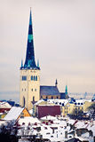 View of Saint Olaf church, Tallinn, Estonia Stock Images