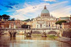 View of Saint Peter cathedral and bridge Angel Stock Images