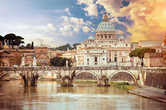 View of Saint Peter cathedral and bridge Saint Stock Photography