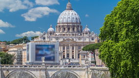 View of Saint Peter cathedral timelapse and bridge Saint Angel, Rome, Italy. Close up view from Ponte Umberto I stock video