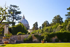 View at Saint Peter church from Vatican garden in Rome Stock Photography