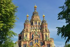 View of Saint Peter and Paul's Cathedral in the Russian city of Peterhof near St. Petersburg, Russia Royalty Free Stock Photo