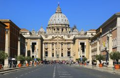 View of Saint Peter`s Basilica, Vatican city, Rome, Italy stock image