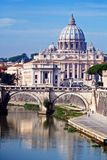 View of Saint Peter's Basilica and the Tiber River Royalty Free Stock Images