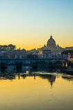 View of Saint Peter's dome in Rome (Italy). At sunset Royalty Free Stock Photography