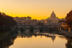 View of Saint Peter's dome in Rome (Italy). At sunset Royalty Free Stock Photos