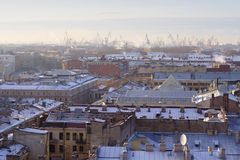 View of Saint Petersburg. Overview of Saint Petersburg, Russia, toward the harbour Royalty Free Stock Images