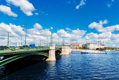 View of Saint Petersburg. Birzhevoy Bridge Royalty Free Stock Photo