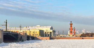 View of Saint Petersburg. Spit of Vasilievsky Island in winter Royalty Free Stock Images