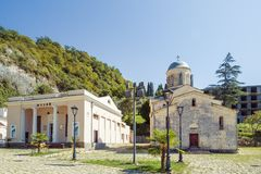 View of the Saint Simon the Canaanite Church on sunny summer day stock photos