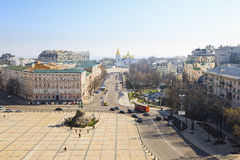 View of Saint Sofia's Square and Monument to Bogdan Khmelnitsky Stock Photography