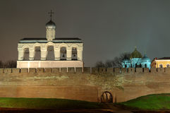 View of the Saint Sophia Cathedral and bell tower at night, Veliky Novgorod. Russia Stock Images