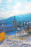 View of the Saint Theodul church near Gruyere castle Stock Image