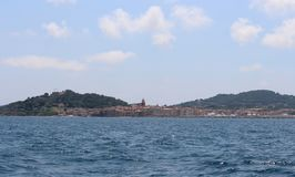 View of Saint-Tropez, the Gulf and Maritime History Museum from the sea. Saint-Tropez, Provence-Alpes-Côte d`Azur, southeastern royalty free stock photo