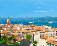 View of Saint-Tropez with seascape and blue sky. France, french riviera royalty free stock photography