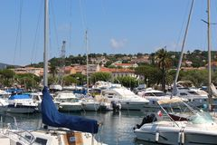 View of Sainte-Maxime Marina on a sunny summer day, Provence-Alpes-Côte d`Azur, France royalty free stock photo