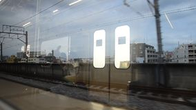 View of Saitama and Tokyo city from Express Electric Railway train stock footage