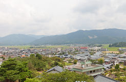 View of Sakai City, Fukui Prefecture, Japan. View of former Maruoka town from donjon of Maruoka castle. Modern city of Sakai was established in 2006 absorbing royalty free stock photos