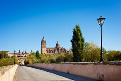 View of Salamanca from the Roman bridge Royalty Free Stock Photo