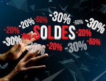 Sales promotion 20% 30% and 50% flying over an interface - Shopping concept. View of a Sales promotion 20% 30% and 50% flying over an interface - Shopping royalty free stock photos