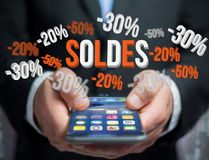 Sales promotion 20% 30% and 50% flying over an interface - Shopping concept. View of a Sales promotion 20% 30% and 50% flying over an interface - Shopping royalty free stock image