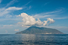 View on Salina island. Salina is an island in the Aeolian Islands, Sicily, Italy Stock Image