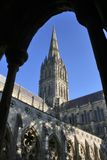 View of Salisbury Cathedral through cloisters stock photo