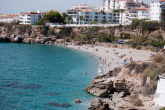 View of the Salon beach in Nerja. Malaga (Spain Stock Image