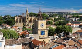View of Salon de Provence with church and bell tower, France.