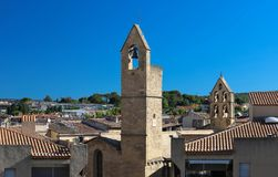 View of Salon de Provence with typical and bell towers, France.