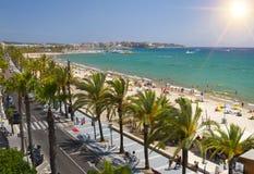 View of Salou Platja Llarga Beach in Spain Royalty Free Stock Image