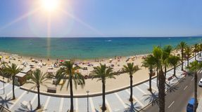 View of Salou Platja Llarga Beach in Spain Stock Photos