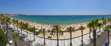 View of Salou Platja Llarga Beach in Spain Royalty Free Stock Photos