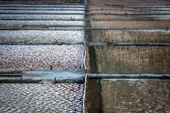 View of Salt evaporation ponds Royalty Free Stock Images