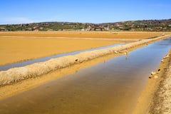 View of Salt evaporation ponds in Secovlje Stock Photography