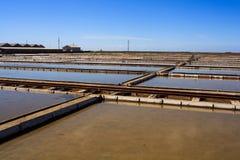 View of Salt evaporation ponds in Secovlje Stock Photos
