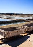 View of Salt evaporation ponds in Secovlje Royalty Free Stock Image