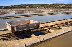 View of Salt evaporation ponds in Secovlje Stock Image