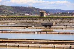 View of Salt evaporation ponds in Secovlje Stock Images