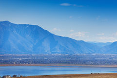 View of Salt Lake city embosomed in mountains Stock Photography