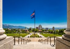 View of Salt Lake City, Utah, from the Steps of the State Capitol Building stock image