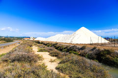 View of salt mountains in a saline Stock Photography