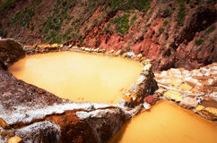 View of Salt ponds, Maras, Cuzco, Peru Royalty Free Stock Photography