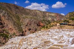 Maras salt mines in Peru stock image